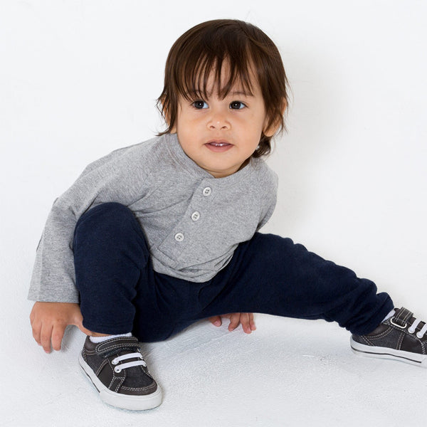 toddler boy wearing boys grey henley shirt with elbow patches
