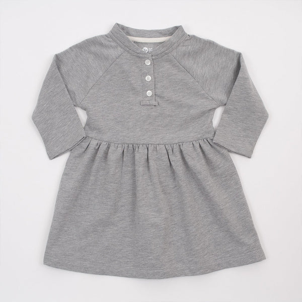 girls long sleeve placket dress in grey