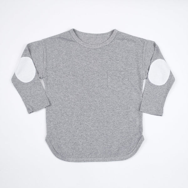 kids grey long sleeve shirt with white elbow patches