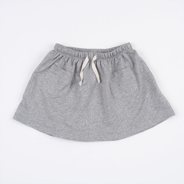 kid's grey skirt with front pockets and pull through drawstring