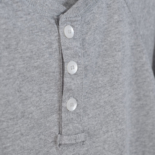 boys grey henley shirt with 3 white buttons and a front placket