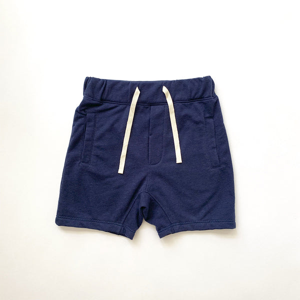 kids drawstring sweat shorts with two front pockets in navy blue