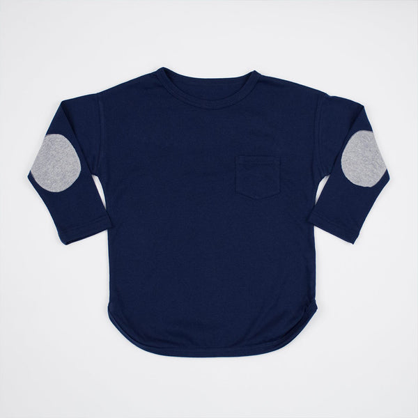 kids navy blue long sleeve shirt with grey elbow patches