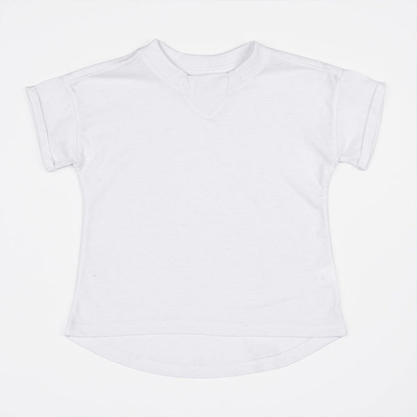 kids oversized white t-shirt with rib inset at neck, rolled sleeves hem and dropped back hem