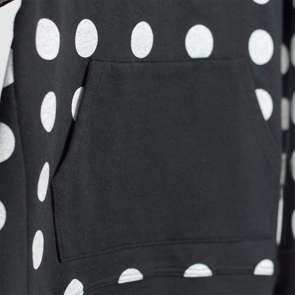 kids black sweatshirt with white polka dots and kangaroo pocket