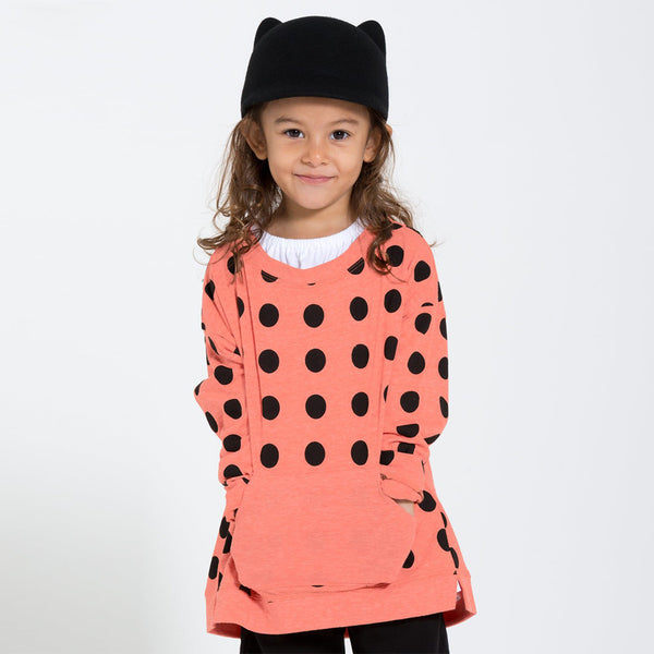 kids coral sweatshirt with black polka dots and kangaroo pocket