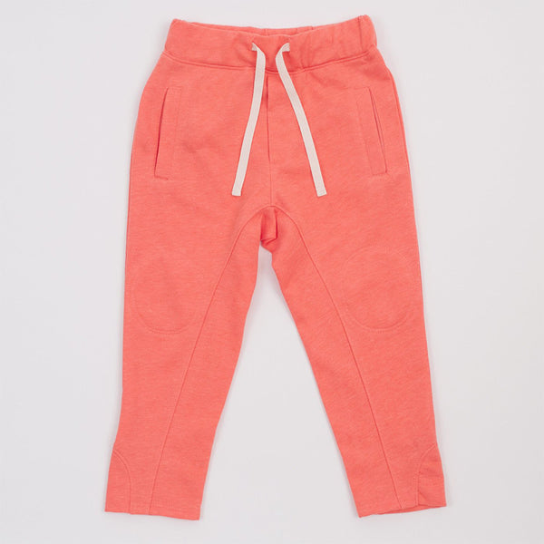 coral joggers with drawstring, front pockets and interior knee patches