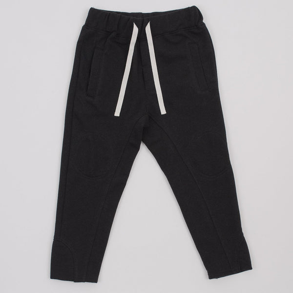 black joggers with drawstring, front pockets and interior knee patches