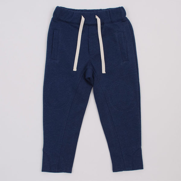 navy blue joggers with drawstring, front pockets and interior knee patches