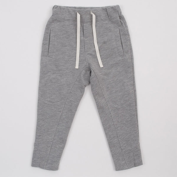 grey joggers with drawstring, front pockets and interior knee patches