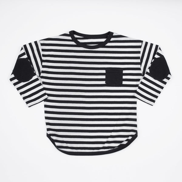 kids black and white striped long sleeve shirt with black elbow patches