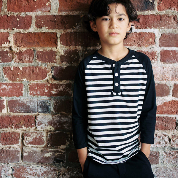 boys black and white striped henley shirt