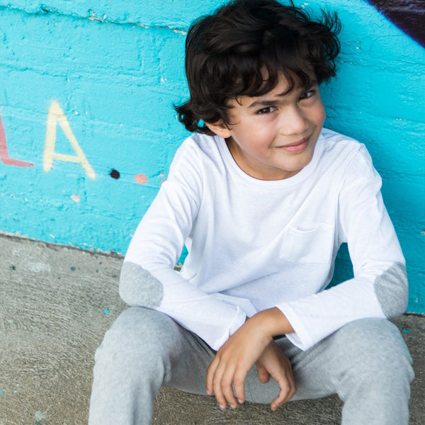 kids white long sleeve shirt with grey elbow patches