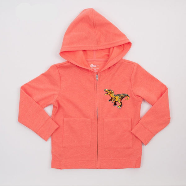 kids coral jacket with orange dinosaur patch on upper left side