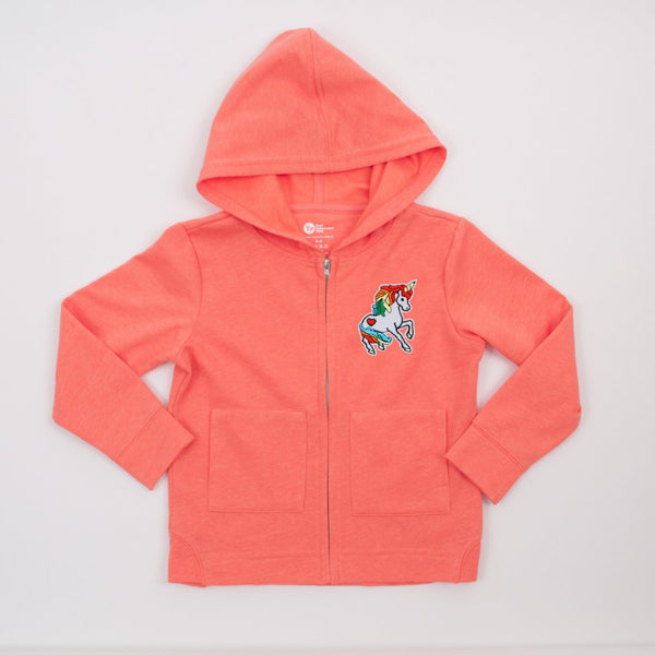 kids coral zipper hoodie with unicorn patch on upper front left side
