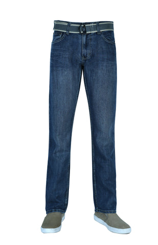 Flypaper Men's Belted Dark Wash Jeans Straight Leg Regular Fit