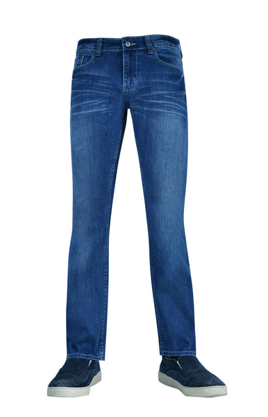Flypaper Mens Stretch Jeans Straight Leg Regular Fit Medium Sea Blue Wash