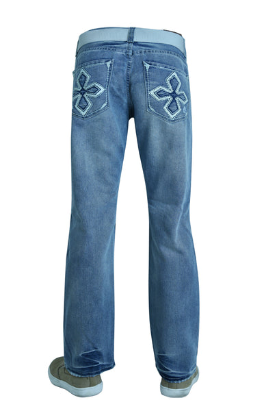 Flypaper Mens Fashion Jeans Straight Leg Regular Fit Ripped Light Blue with Belt