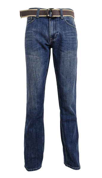 Men's Straight Jeans with Belt: Medium Wash