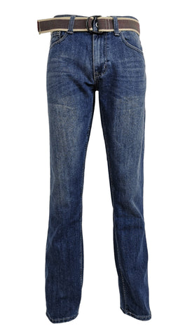 Men's Straight Jeans with Belt: Medium Wash - Flypaper Jeans
