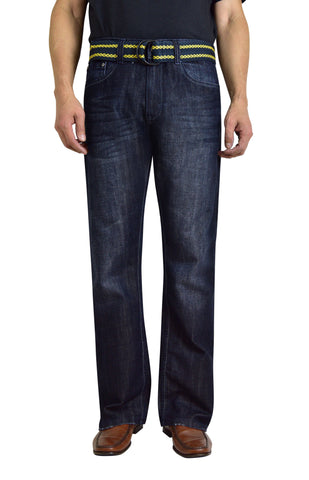 Flypaper Men's Belted Dark Wash Jeans Bootcut Regular Fit
