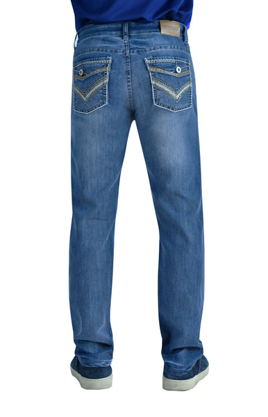 Flypaper Boy's Straight Stretch Jeans Regular Fit Medium Wash Fault Flap