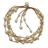 Music Four Strand Freshwater Pearl Necklace White