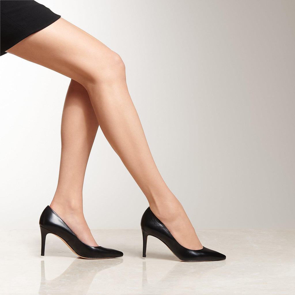 'Floret' Black Leather Pumps
