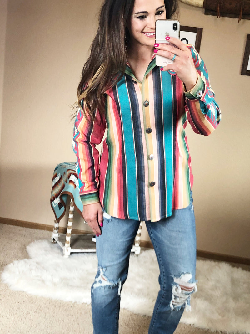 The Tristen Serape Button Down Shirt
