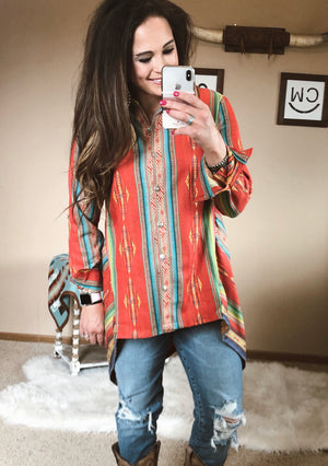 The Tammy Serape Button Down Top