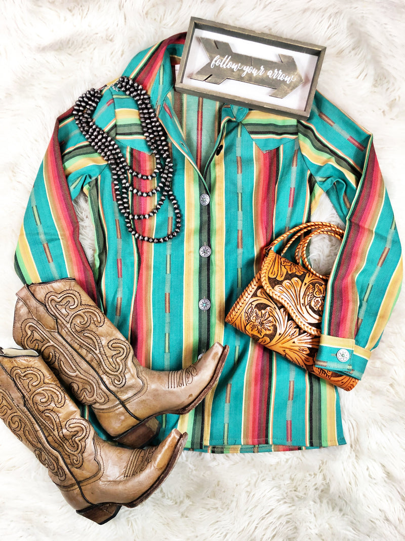 The Taylor Turquoise Serape Button Down Shirt