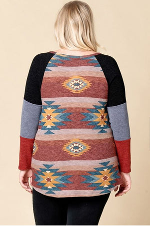 Plus Aztec Dreams Long Sleeve