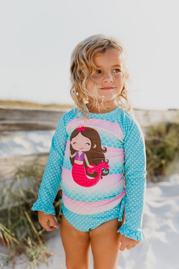Girls mermaid rashguard set