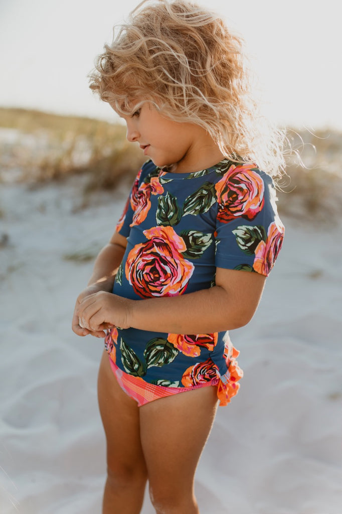 Floral girls rashguard set
