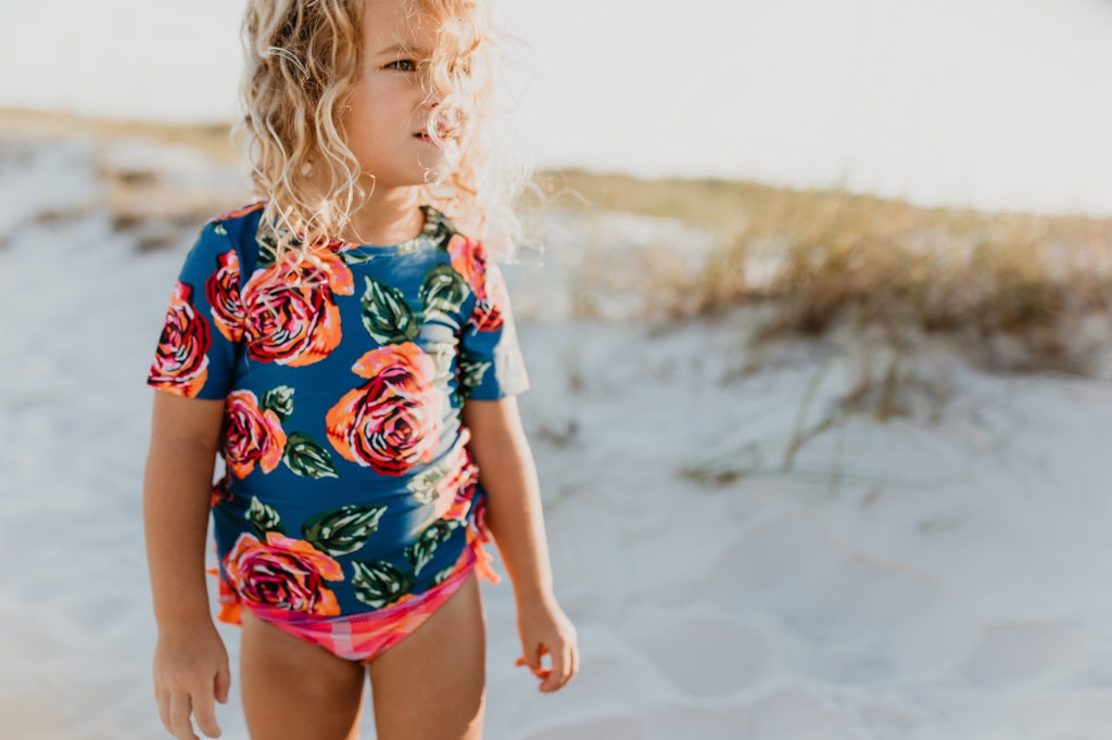 Girls floral rashguard set