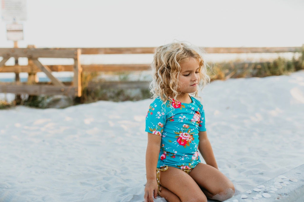 Girls rashguard set floral