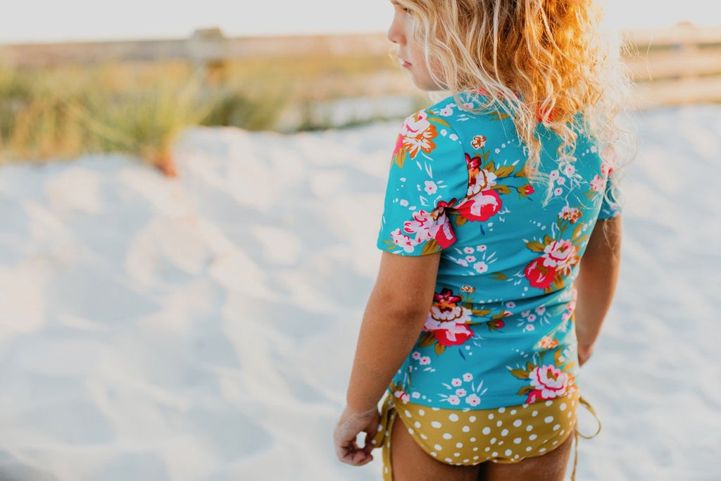 Girls rashguard set mustard floral