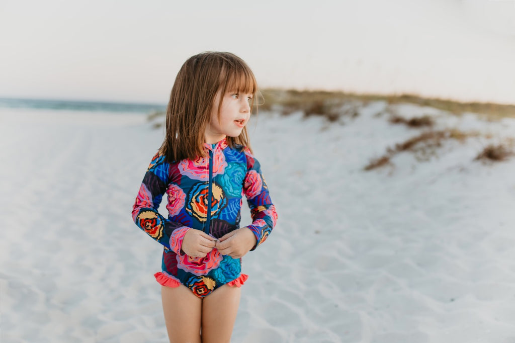 one-piece zip up swimsuit floral