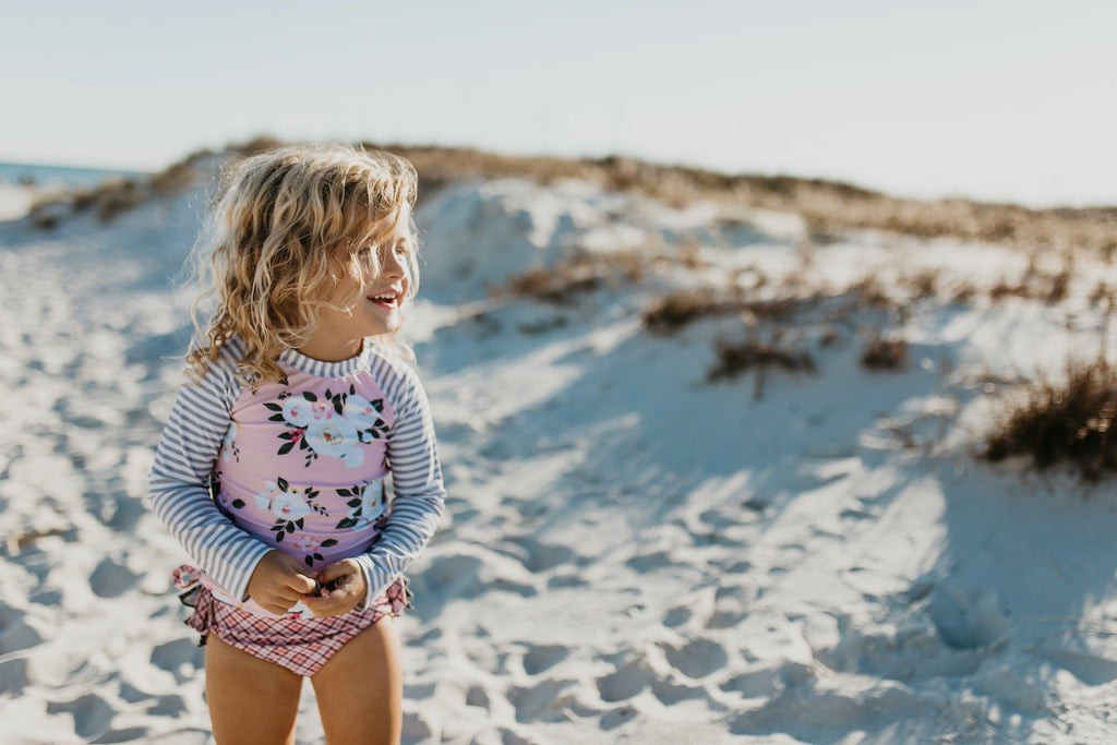 Pink and gray Floral Rashguard girls set