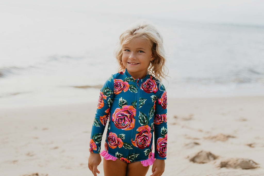 One Piece Zip Rash Guard Dk Teal Coral Rose
