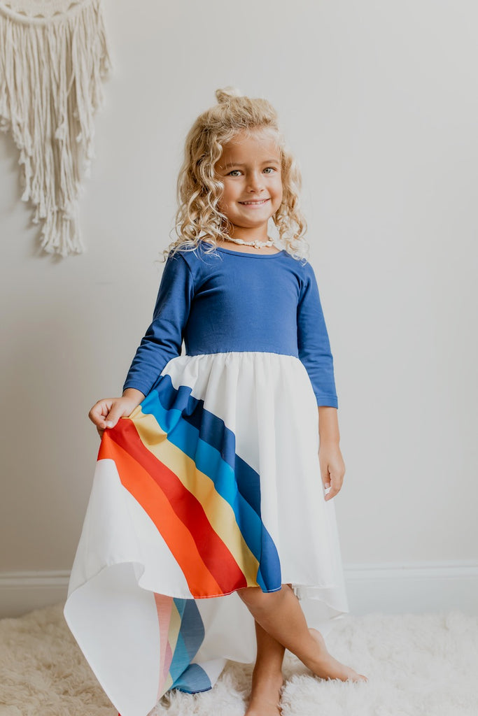 Navy Rainbow Long Sleeve Dress