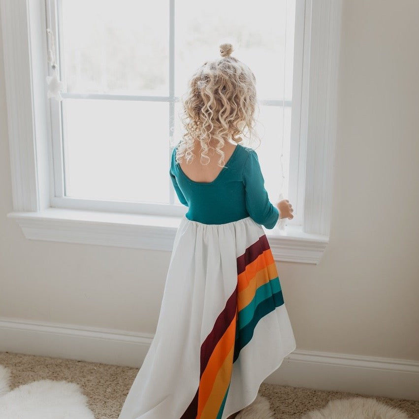 Teal Rainbow Long Sleeve Dress