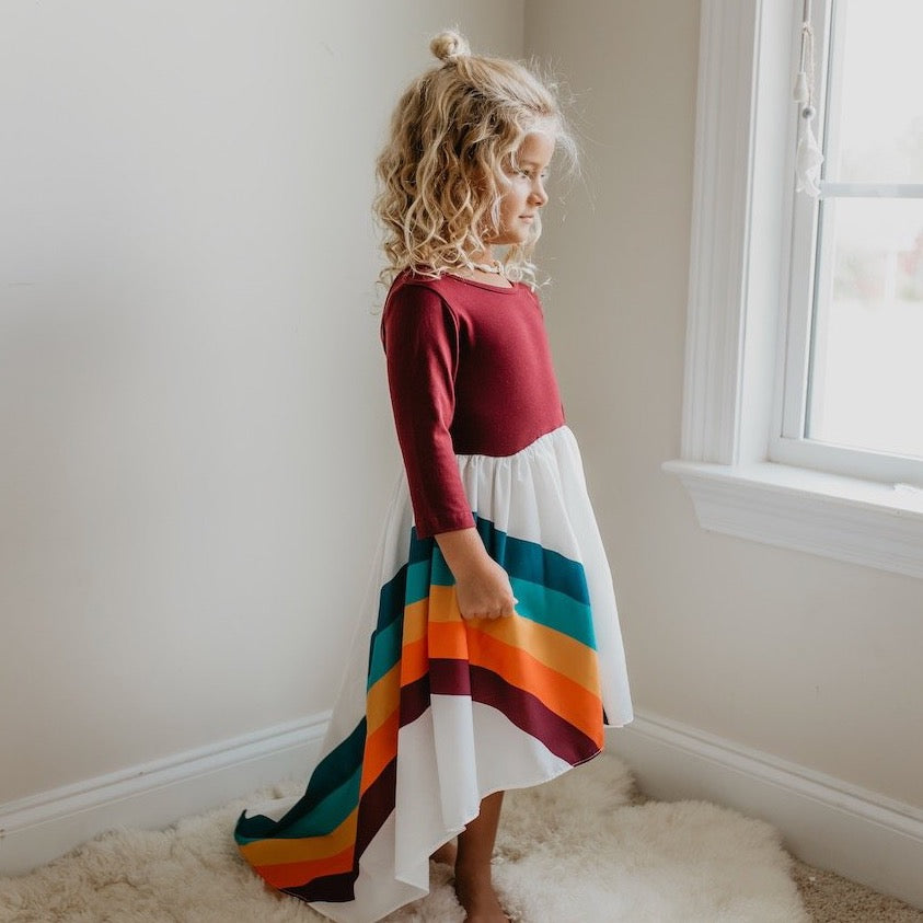 Wine Rainbow Long Sleeve Dress
