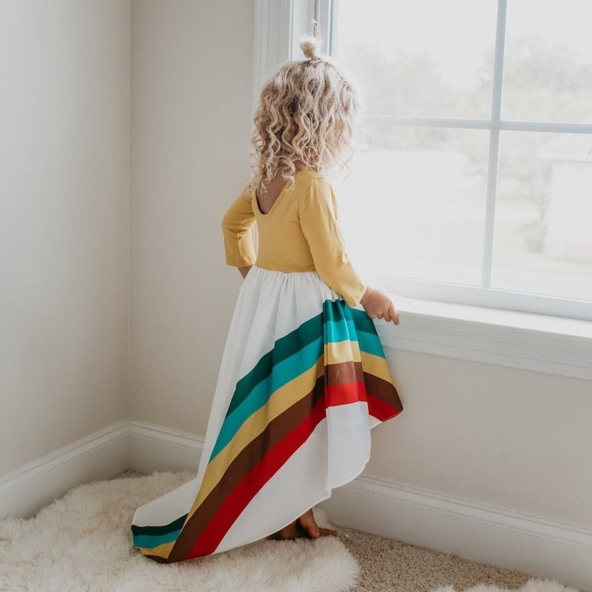 Mustard Rainbow Long Sleeve Dress