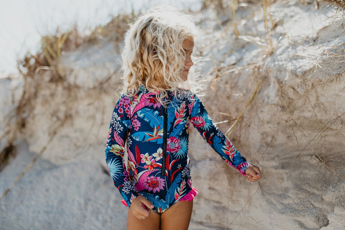 Navy Tropical Zip Rash Guard Swimsuit