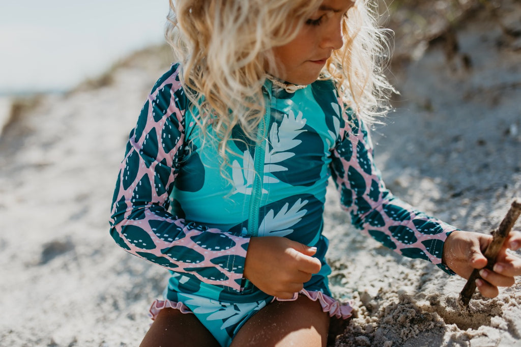 Teal Leaf Zip Rash Guard Swimsuit