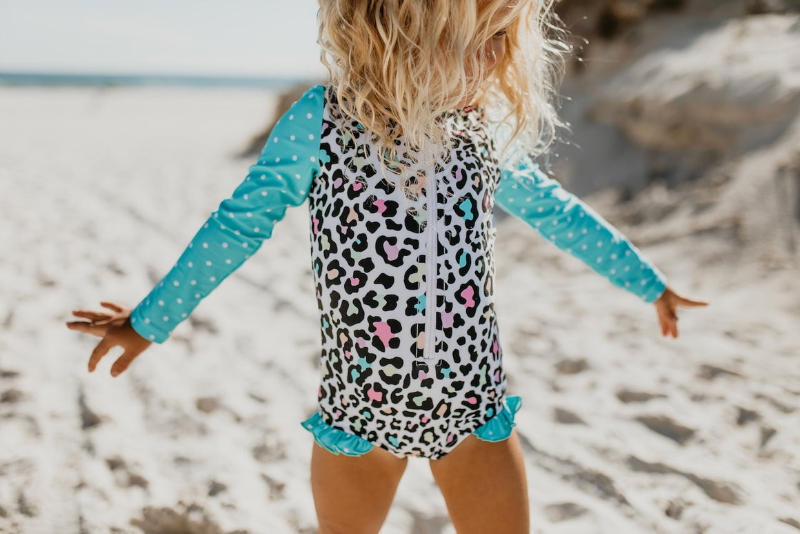 Teal Leopard Zip Rash Guard Swimsuit