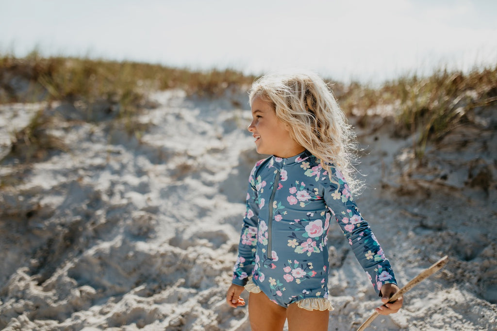Gray Pink Zip Rash Guard Swimsuit