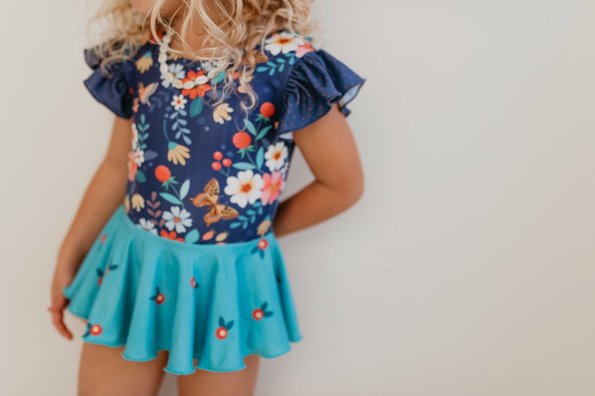 Navy Floral Skirted Leotard