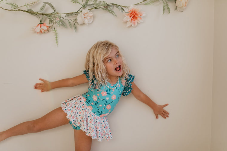 Teal Floral Skirted Leotard